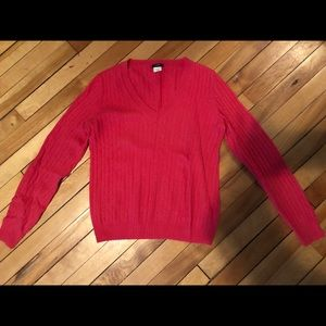 JCREW pink cable knit cashmere blend check small